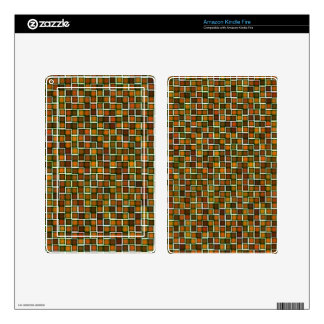 Abstract Earth Tone Mosaic Squares Pattern Kindle Fire Decals