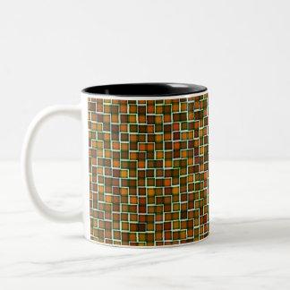 Abstract Earth Tone Mosaic Squares Pattern Two-Tone Coffee Mug