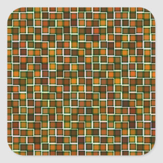 Abstract Earth Tone Squares Pattern Square Sticker