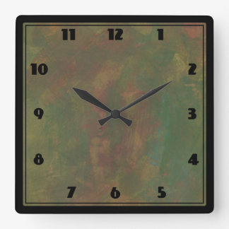 Abstract Earth Tones Square Wall Clock