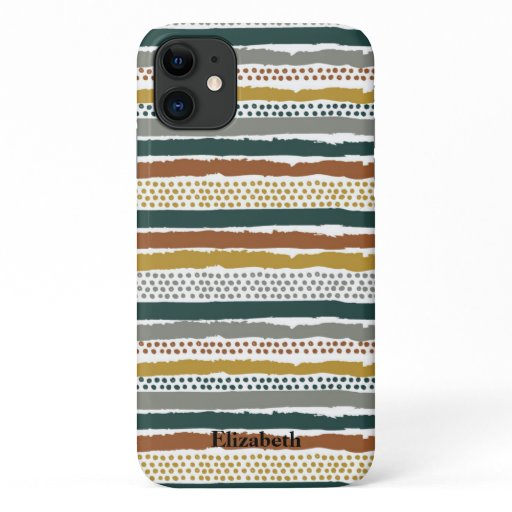 Abstract Earth Tones Stripes and Dots iPhone 11 Case