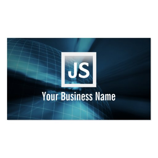Abstract Earth Wireframe Blue Dark Business Card