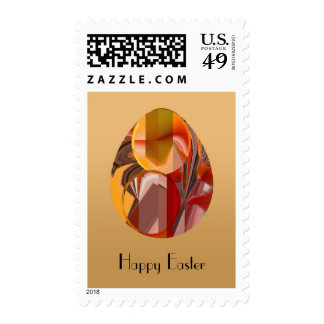 Abstract Egg in Reds and Yellows Postage