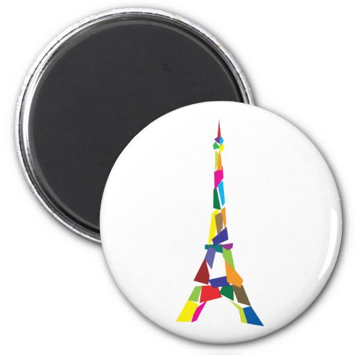 Abstract Eiffel Tower, France, Paris 2 Inch Round Magnet