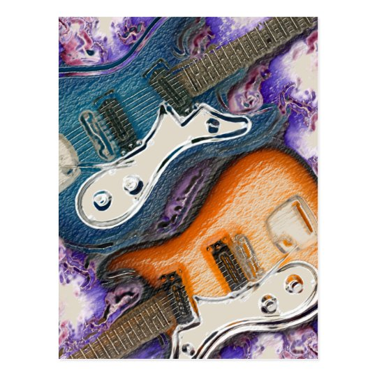 Abstract Electric Guitars Postcard