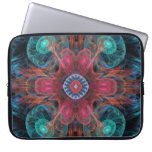 Abstract Electric Jellyfish Cool Fractal blue red Computer Sleeve