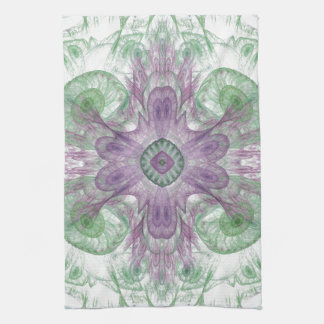 Abstract Electric Jellyfish Cool Fractal green Kitchen Towels