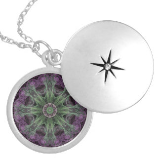 Abstract Electric Jellyfish Cool Fractal pg on b Silver Plated Necklace