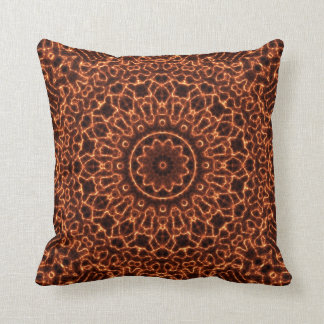 Abstract Electric Waves Mandala Design Throw Pillow