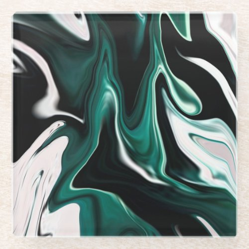 Abstract elegant fluid liquid marble flow texture glass coaster