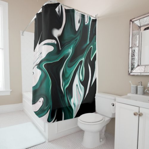 Abstract elegant fluid liquid marble flow texture shower curtain