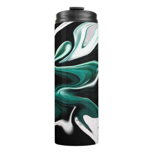 Abstract elegant fluid liquid marble flow texture thermal tumbler
