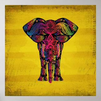 Abstract Elephant Ornamental Decorative Design Poster