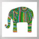 Abstract elephant print. Animal illustration art Poster