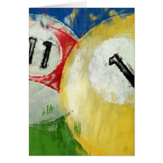 Abstract Eleven and One Ball Billiards Card
