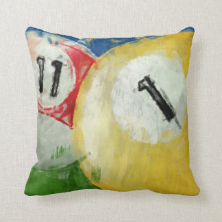 Abstract Eleven and One Ball Billiards Throw Pillows