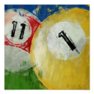 Abstract Eleven and One Ball Billiards Poster