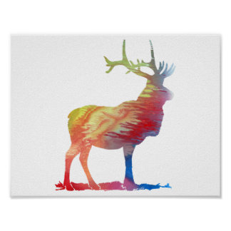 Abstract Elk silhouette Poster