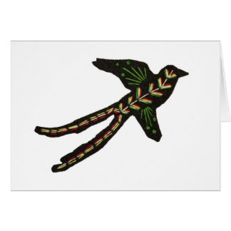 Abstract Embroidered Scissor-tailed Flycatcher Card