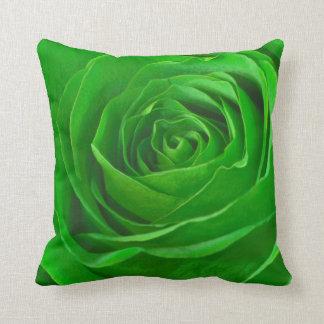 Abstract Emerald Green Rose Center Photograph Throw Pillows