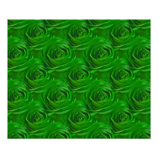 Abstract Emerald Green Rose Wallpaper Pattern Posters