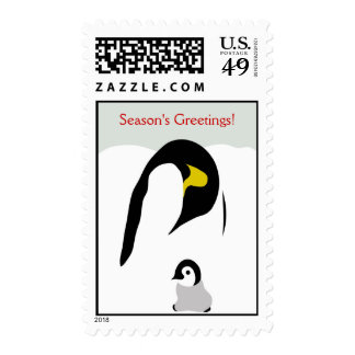 Abstract Emperor Penguins Holiday Stamp