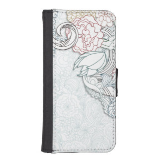 Abstract Engraved Floral Phone Wallet