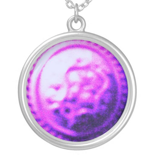 ۞»Abstract Enigmatic Silver Necklace«۞ Round Pendant Necklace