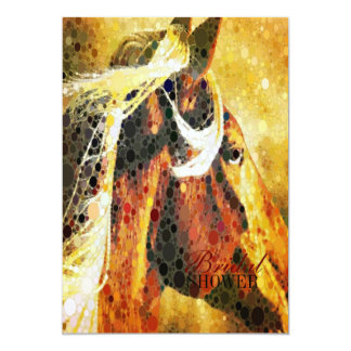 Abstract equestrian western country horse card