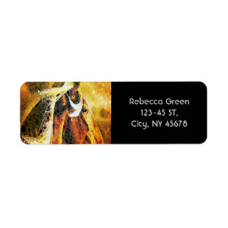 Abstract equestrian western country horse label