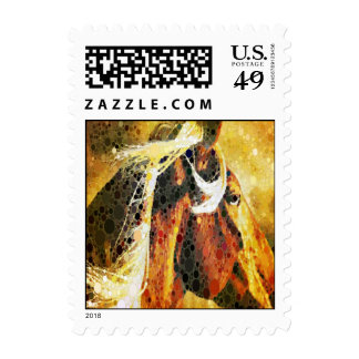 Abstract equestrian western country horse postage