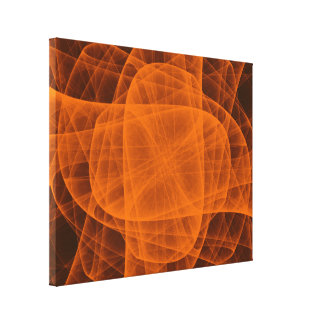 Abstract Eternal Rounded Cross in Orange Canvas Print