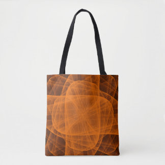 Abstract Eternal Rounded Cross in Orange Tote Bag