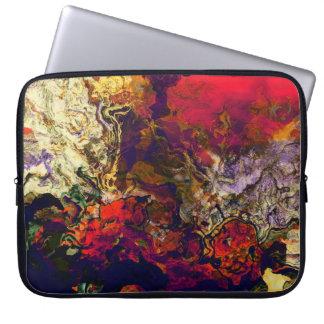 Abstract Evening Red, Cream & Midnight Swirl Laptop Sleeve