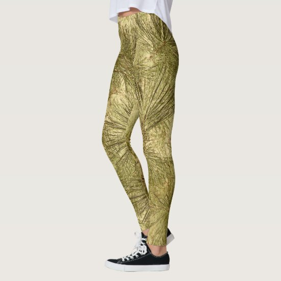 abstract evergreen branches camouflage leggings