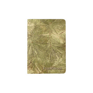 Abstract evergreen needles his name camouflage passport holder