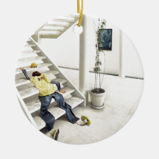 Abstract Everyday Climb Stairs Ceramic Ornament