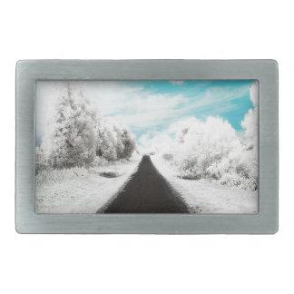 Abstract Everyday Winter Roads Rectangular Belt Buckles