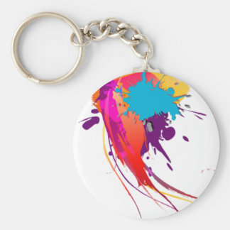 Abstract Exotic Butterfly Paint Splatters Basic Round Button Keychain