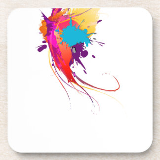 Abstract Exotic Butterfly Paint Splatters Beverage Coaster