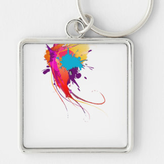 Abstract Exotic Butterfly Paint Splatters Silver-Colored Square Keychain