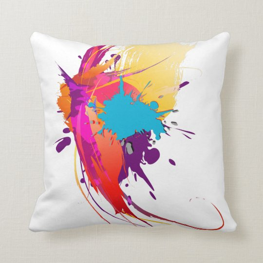 Abstract Exotic Butterfly Paint Splatters Throw Pillow
