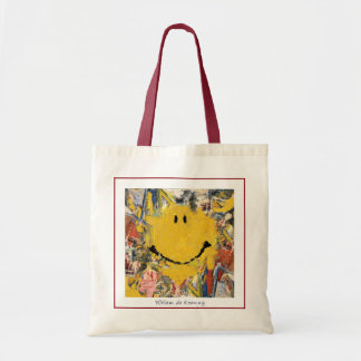abstract expression happy face bag