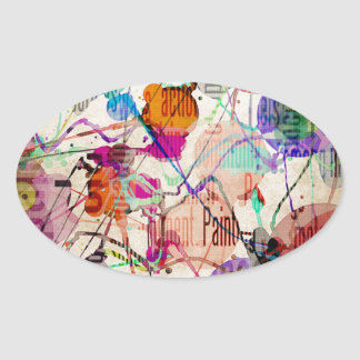 Abstract Expressionism 1 Oval Sticker