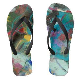 Abstract Expressionism Goes To the Beach Flip Flops