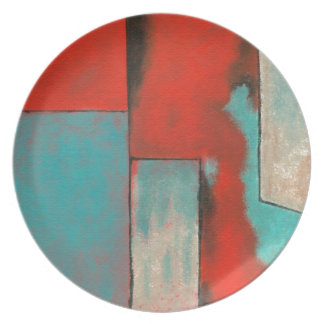 Abstract Expressionist Art Painting Red Turquoise Melamine Plate