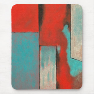 Abstract Expressionist Art Painting Red Turquoise Mouse Pad