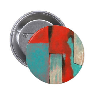 Abstract Expressionist Art Painting Red Turquoise Pinback Button