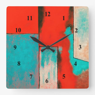 Abstract Expressionist Art Painting Red Turquoise Square Wall Clock