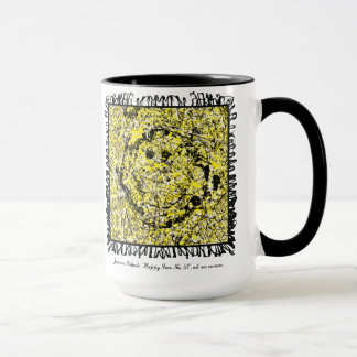 abstract expressionist happy face mug
